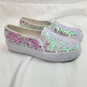 Keds Pastel Sequin Triple Decker Slide On Sneakers